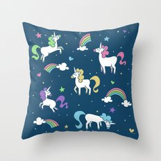 Unicorns and Rainbows - Teal Throw Pillow