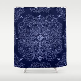 Navy Ladybug Ogee Shower Curtain