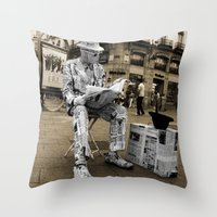 newspaper Throw Pillows featuring Newspaper Man by Rob Hawkins Photography