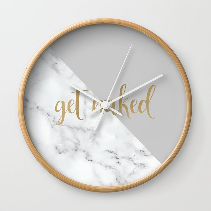 Get Naked Fun Bathroom Art Grey Gold Marble Wall Clock By
