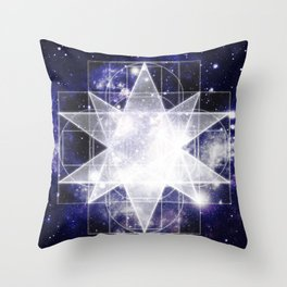 Sacred Geometry : Dark Blue Galaxy Throw Pillow