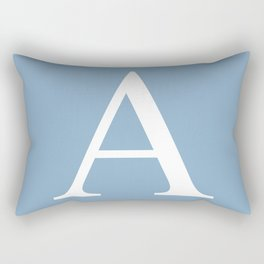 Letter A sign on placid blue color background Rectangular Pillow