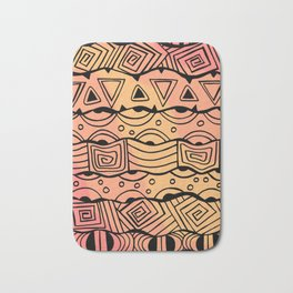 Wavy Tribal Lines with Shapes - Orange - Doodle Drawing Bath Mat