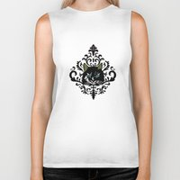 damask Biker Tanks featuring cat damask by Andi Bird