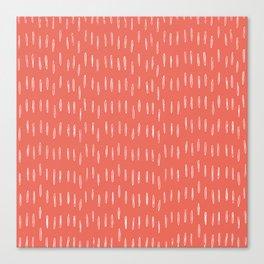 Boho, Raindrop, Mudcloth, Coral Canvas Print