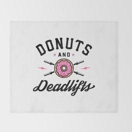 Donuts And Deadlifts v2 Throw Blanket