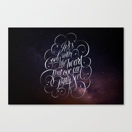 Only with the heart Canvas Print