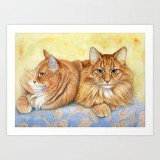 Ginger Cats A085 Art Print