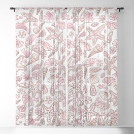 Millennial pink seashells Sheer Curtain
