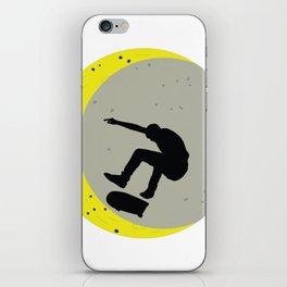 Skateboard Kick Flip OnThe Moon Silhouet Skateboarder iPhone Skin