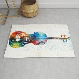 Colorful Violin Art by Sharon Cummings Rug