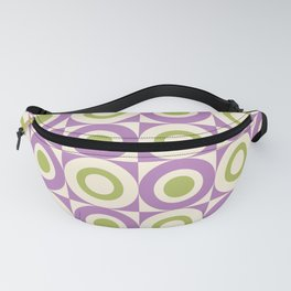 Mid Century Square and Circle Pattern 541 Lavender and Chartreuse Fanny Pack