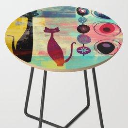 Mid-Century Modern 2 Cats - Graffiti Style Side Table