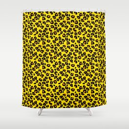 Lemon Yellow Leopard Spots Animal Print Pattern Shower Curtain