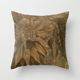 Horses and Sunflowers Throw Pillow