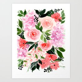 Pink and Red Roses Loose Floral Bouquet Art Print