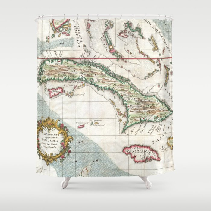 Vintage Map Of Cuba And Jamaica Shower Curtain By - Vintage map of cuba
