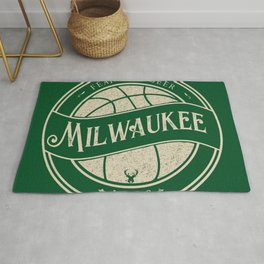 Milwaukee basketball green vintage logo Rug