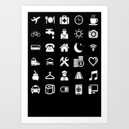 Basic White model: Traveler emoticon help for travel t-shirt Art Print