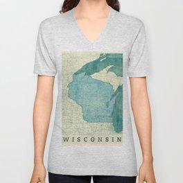 Wisconsin State Map Blue Vintage Unisex V-Neck