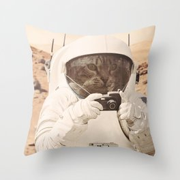 Astronaut Cat on Mars Throw Pillow