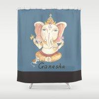 ganesha Shower Curtains featuring Ganesha by Hsinart 心藝術