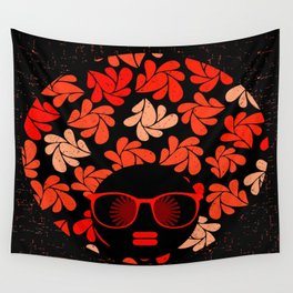 Afro Diva : Coral Red Wall Tapestry