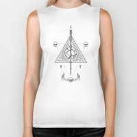 deathly hallows Biker Tanks featuring Deathly Hallows (White) by Mírë
