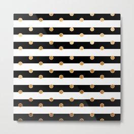 Black and white stripe gold dot Metal Print