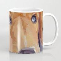 golden retriever Mugs featuring Golden Retriever Eyes by Barking Dog Creations Studio