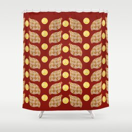 Glod guinea fowl pattern on brown Shower Curtain