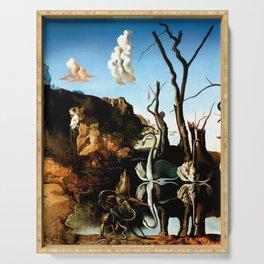 Salvador Dali Swans Reflecting Elephants 1937 Artwork for Wall Art, Prints, Posters, Tshirts, Men, Women, Kids Serving Tray