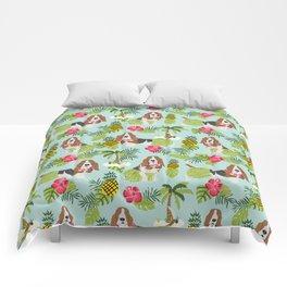 Basset Hound palm tree tropical dog breed pet friendly pet portraits aloha hawaii Comforters
