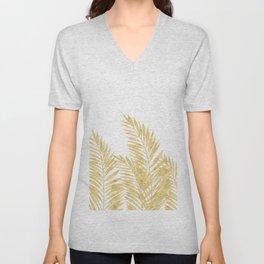 Palm Leaves Golden Unisex V-Neck