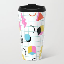 Clutch - memphis 80s style retro throwback cubes geometric triangles 1980's pattern Travel Mug