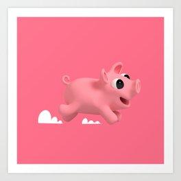 Rosa the Pig running Art Print