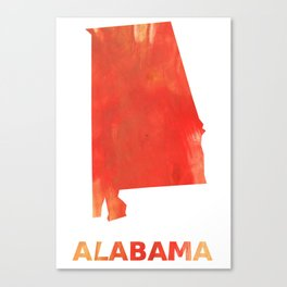 Alabama map outline Tomato stained watercolor texture Canvas Print