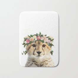 Baby Cheetah With Flower Crown, Baby Animals Art Print By Synplus Bath Mat