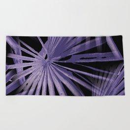 Violet On Black Tropical Vibes Beach Palmtree Vector Beach Towel