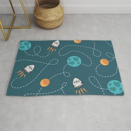 Flying to the moon pattern design on products Rug