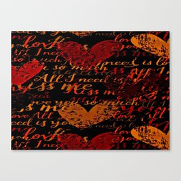 Kiss Me, Miss Me Red Canvas Print
