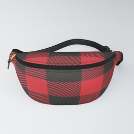 Black And Red Flannel Pattern Fanny Pack