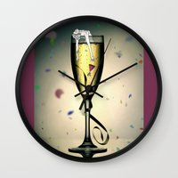 champagne Wall Clocks featuring Champagne by CokecinL