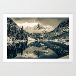 Falling Skies - Maroon Bells in Sepia - Aspen Colorado Art Print