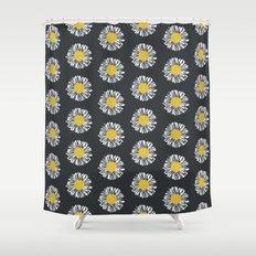 Daisy pattern basic flowers floral blossom botanical print charlotte winter dark color Shower Curtain