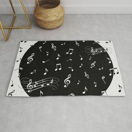 Music White and Black Rug