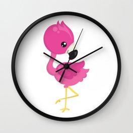 Pink Flamingo Standing on One Leg Wall Clock