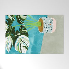 Variegated Monstera #tropical #painting #nature Welcome Mat