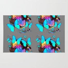 MODERN ART NEON BLUE BUTTERFLIES PATTERNS ART Rug
