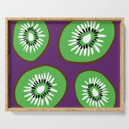 Bright Purple and Green Kiwifruit Pattern Serving Tray
